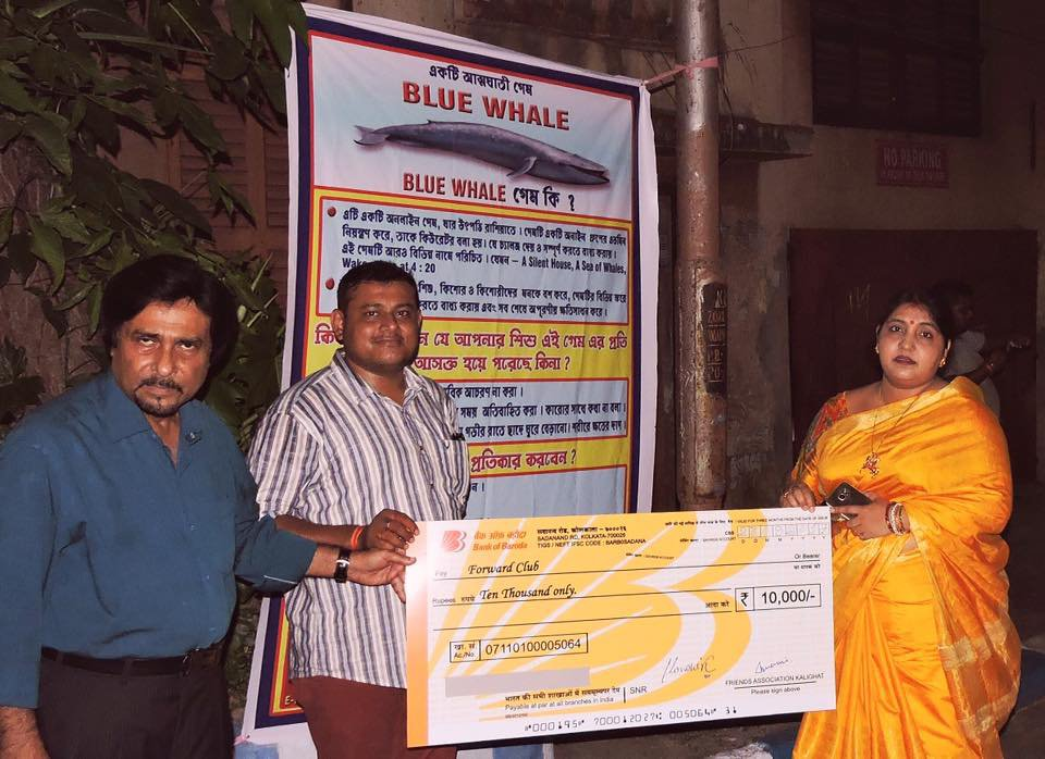 Cheque handed over to club for Durga Puja